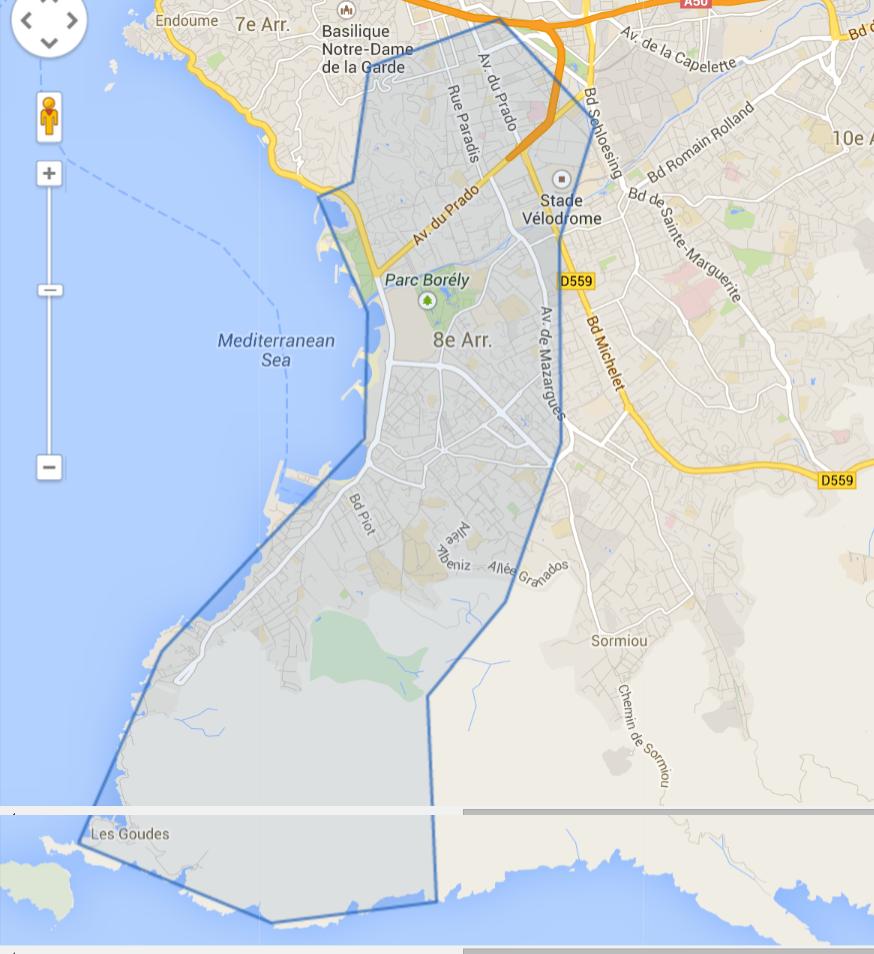 Délimitation du 8eme arrondissement de Marseille