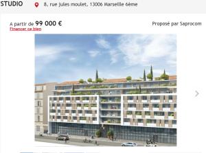 Achat appartement 1 pièce Marseille 6ème appartement neuf F1 T1 1 pièce 22m² 99000€ Proposé par Saprocom
