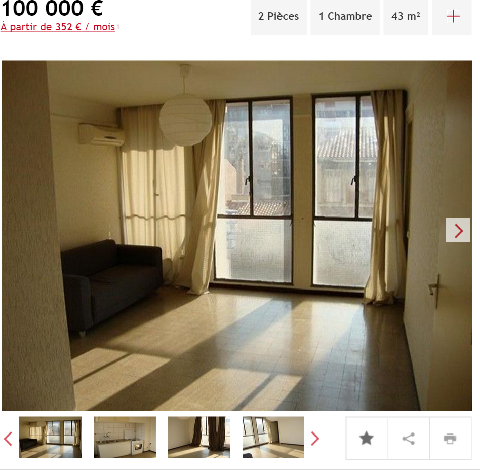Investissement appartement 2 pièces Marseille 5ème appartement F2 T2 2 pièces 43m² 100000€