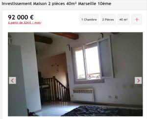 Investissement maison 2 pièces Marseille 10ème maison F2 T2 2 pièces 40m² 92000€