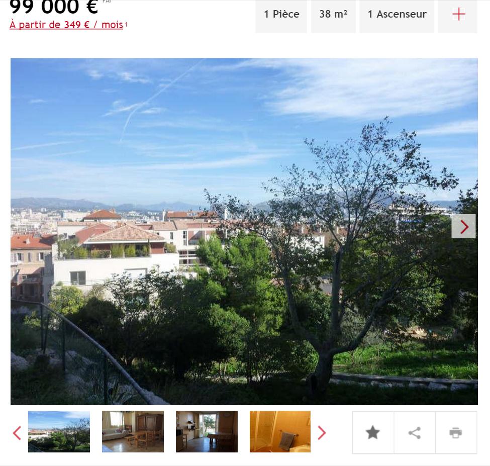 Vente appartement 1 pièce Marseille 6ème appartement F1 T1 1 pièce 38m² 99000€