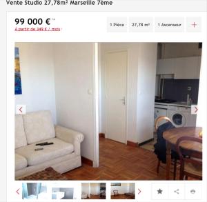 Vente appartement 1 pièce Marseille 7ème appartement F1 T1 1 pièce 27 78m² 99000€