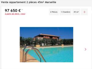 Vente appartement 2 pièces Marseille 14ème appartement F2 T2 2 pièces 45m² 97650€