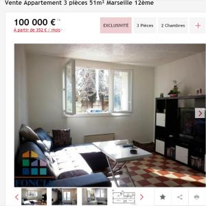 Vente appartement 3 pièces Marseille 12ème appartement F3 T3 3 pièces 51m² 100000€