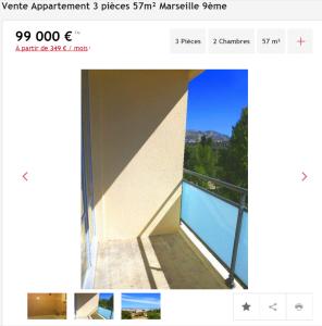 Vente appartement 3 pièces Marseille 9ème appartement F3 T3 3 pièces 57m² 99000€