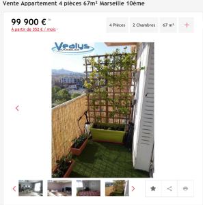 Vente appartement 4 pièces Marseille 10ème appartement F4 T4 4 pièces 60 38m² 99000€