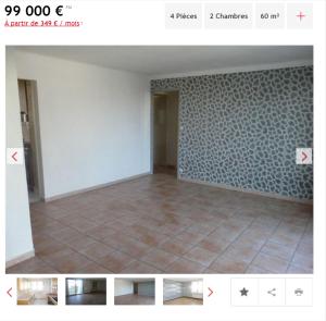 Vente appartement 4 pièces Marseille 13ème appartement F4 T4 4 pièces 60m² 99000€