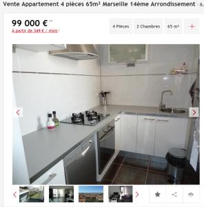 Vente appartement 4 pièces Marseille 14ème appartement F4 T4 4 pièces 65m² 99000€
