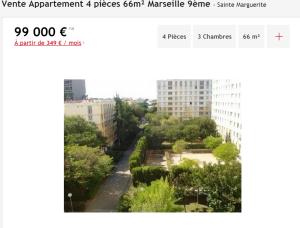 Vente appartement 4 pièces Marseille 9ème appartement F4 T4 4 pièces 66m² 99000€