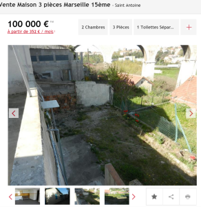 Vente maison 3 pièces Marseille 15ème maison F3 T3 3 pièces 0m² 100000€