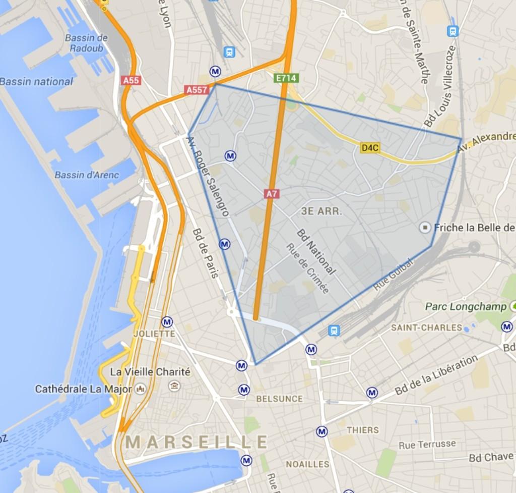 Carte du 3e arrondissement de marseille