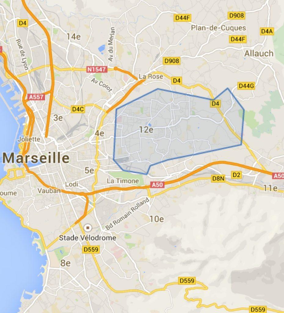 carte du 12e arrondissement de Marseille